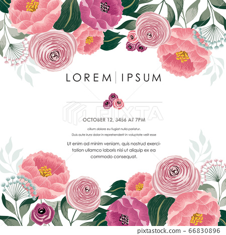 Vector illustration of a beautiful floral frame with spring flowers. Design for banner, poster, card, invitation and scrapbook 66830896