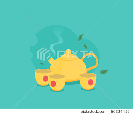 Teapot and cups. Vector illustration in flat style 66834413