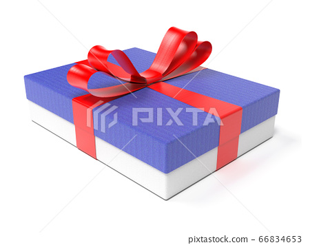 Gift box with red ribbon. 3d rendering illustration 66834653
