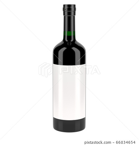 Red wine bottle with blank label 66834654