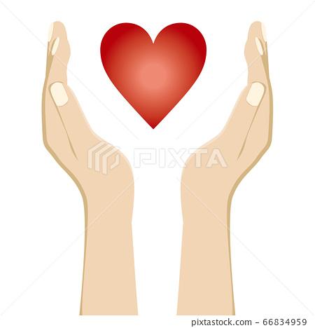 插圖用您的手掌包裹一顆心|精神和身體壓力的醫療保健圖像的插圖 66834959