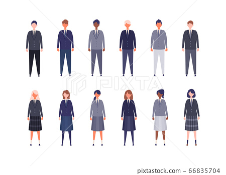 Illustration of male and female high school students in uniform, junior high school students of various races 66835704