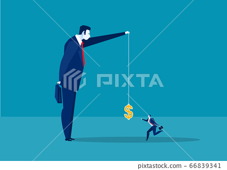 businessman running catch a dollar placed on a hook ,active income concept 66839341