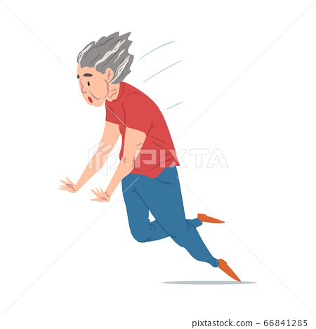 Elderly Woman Falling Down, Retired Female Person Falling Ahead, Accident, Pain and Injury Cartoon Style Vector Illustration on White Background 66841285