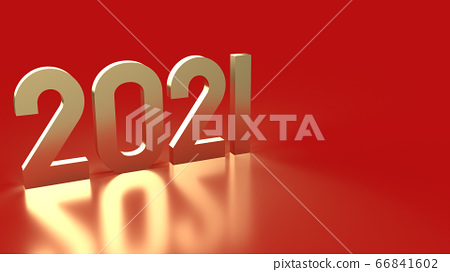 The 2021 gold number on red background 3d rendering. 66841602