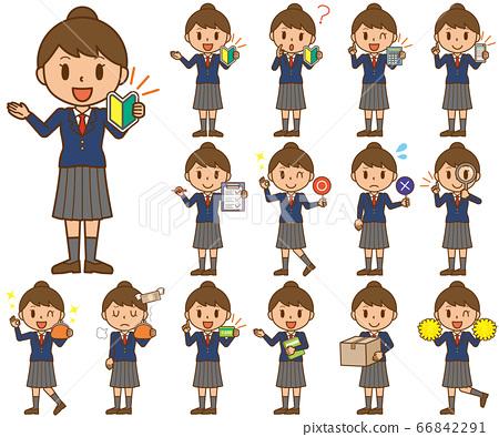 학생 학생 여자 여자 여자 표정 몸짓 세트 66842291