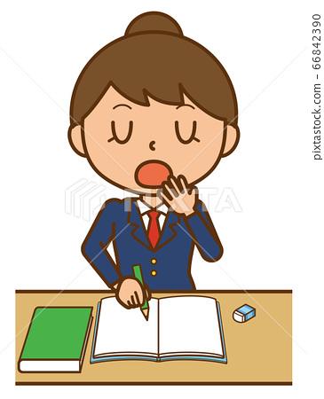 학생 학생 여자 여자 여자 공부 하품 66842390