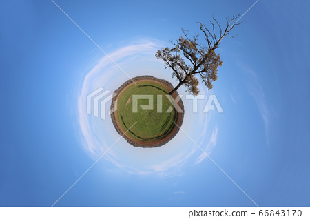 Stereographic panoramic projection of a green 66843170