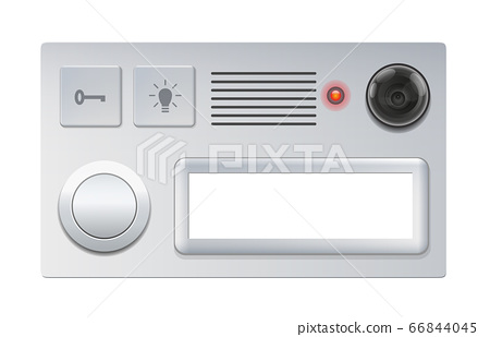 Doorbell with camera, push button and blank name plate - isolated vector illustration on white background. 66844045