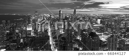 Atmospheric scene of Chicago at night showing Michigan Avenue and downtown 66844127
