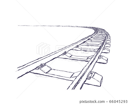 The railway going forward. 3d vector illustration on a white. Hand-drawn pencil style 66845293