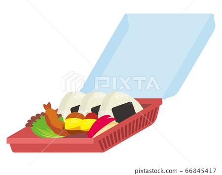 帶一次性食品包的午餐盒 66845417