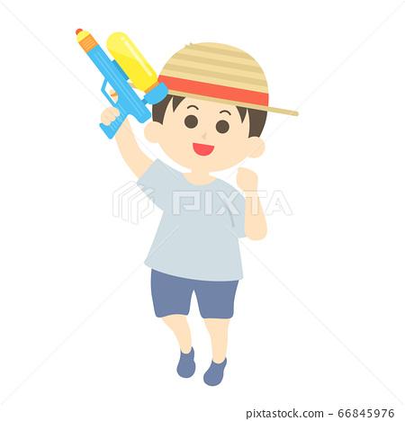 一個男孩玩水槍的插圖 66845976
