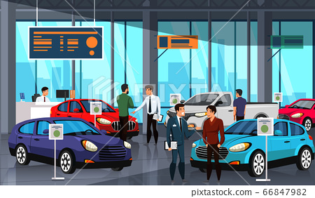 Sellers and potential buyers group in car showroom 66847982