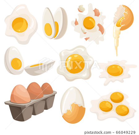 Cartoon eggs isolated on white background. Set of fried, boiled, cracked eggshell, sliced eggs and chicken eggs in box. Vector illustration. Collection eggs in various forms 66849229