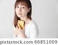 Smartphone, female, white background 66851009