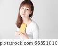 Smartphone, female, white background 66851010