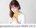 Smartphone, female, white background 66851012