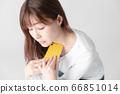 Smartphone, female, white background 66851014