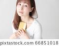 Smartphone, female, white background 66851018