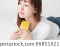 Smartphone, female, white background 66851021
