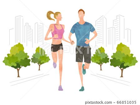 插圖素材:城市中奔跑的男女 66851035