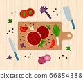 The process of cooking meat on cutting wooden board, with vegetables, top view vector illustration 66854388