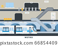 Metro vector illustration in flat design. City metro station platform and underground train. 66854409