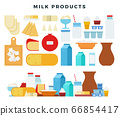 Different types of dairy products, collection of icons in flat style, isolated on white. Milk, butter, cheese, yogurt, cottage cheese, sour cream, ice cream, cream, milkshake, mozzarella. Vector. 66854417