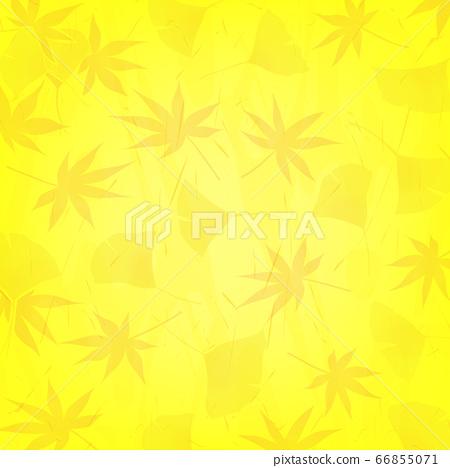 단풍과 은행 나무 일본식 디자인의 노란색 배경 (가을 이미지) 66855071
