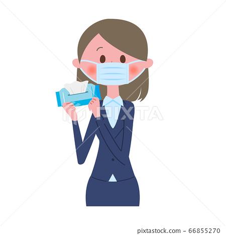 戴著面具用濕紙巾的女商人 66855270