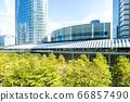 許多綠色辦公室街道風景 66857490