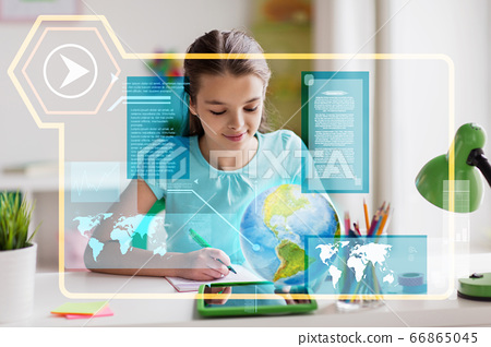 girl with tablet pc learning geography at home 66865045