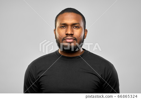portrait of african american man in black t-shirt 66865324