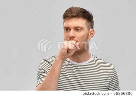 unhealthy young man coughing 66866886