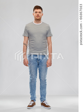 young man in striped t-shirt 66867083