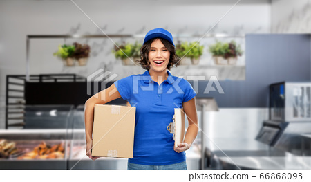 happy delivery girl with box and clipboard 66868093