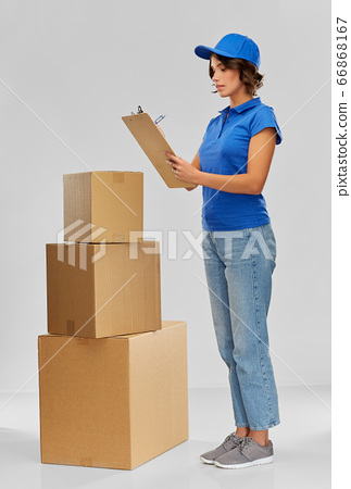 happy delivery girl with boxes and clipboard 66868167