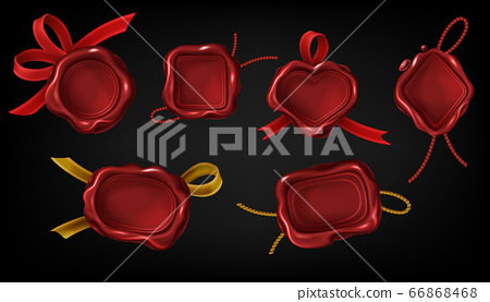 Red wax seal stamps for letter, document or certificate 66868468