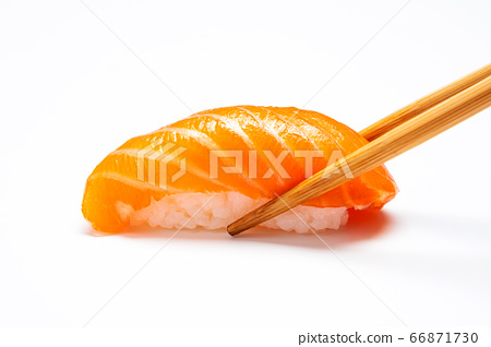 Sashimi, Salmon, Japanese food chopsticks and wasabi with withe plate isolated 66871730