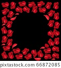 Heart red rose petals on Valentine day. scarlet Heart in love with roses. 66872085
