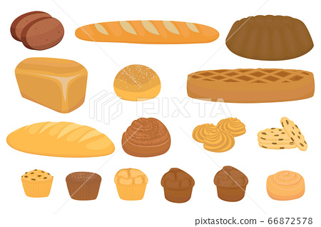 Vector set of cartoon bread 66872578