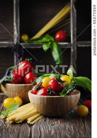 Concept of healthy eating with tomato, pasta and 66875989