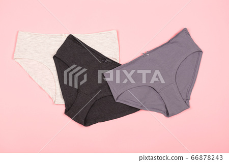 Woman panties on the pastel pink background. 66878243