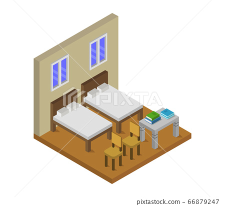 isometric bedroom 66879247