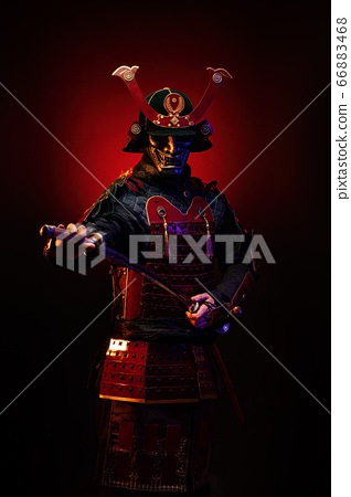 Portrait of a samurai in armor 66883468