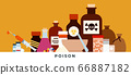 Poison, toxic substances, medicament, liquids vector illustration in flat style. 66887182