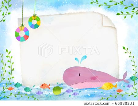 清新的夏日大海和鯨魚 66888231