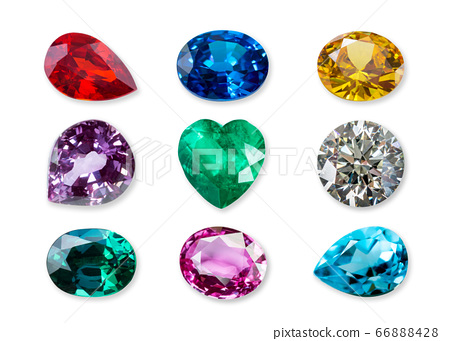 Natural gemstone isolated on a white background 66888428