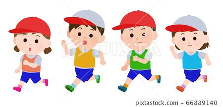 운동회 달리기 남녀 일러스트 66889140